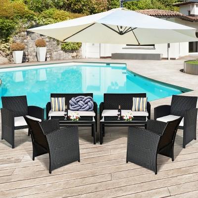 Costway 8PCS Patio Rattan Furniture Conversation Set Cushioned Sofa Table Garden Black