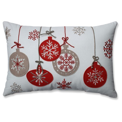 White Throw Pillow Holiday Ornaments 175x115 Pillow Perfect