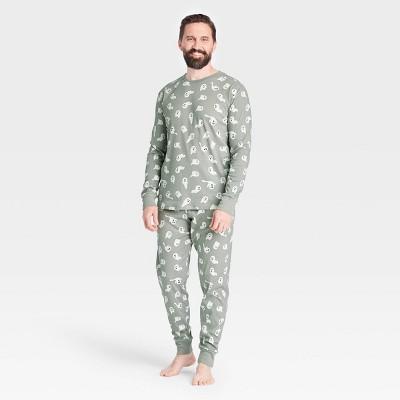 Men's Halloween Ghost Matching Family Pajama Set - Gray