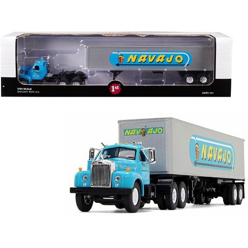 """Mack B-61 Day Cab with 40' Vintage Trailer """"Navajo"""" Turquoise and Silver 1/64 Diecast Model by First Gear - image 1 of 2"""