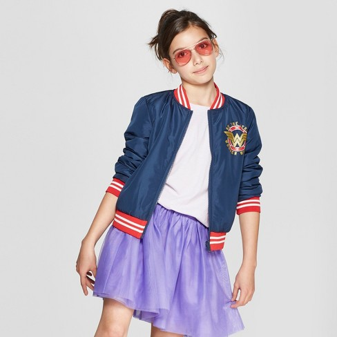 5c054ae2284d Girls  DC Comics Wonder Woman Reversible Bomber Jacket - Navy Red ...