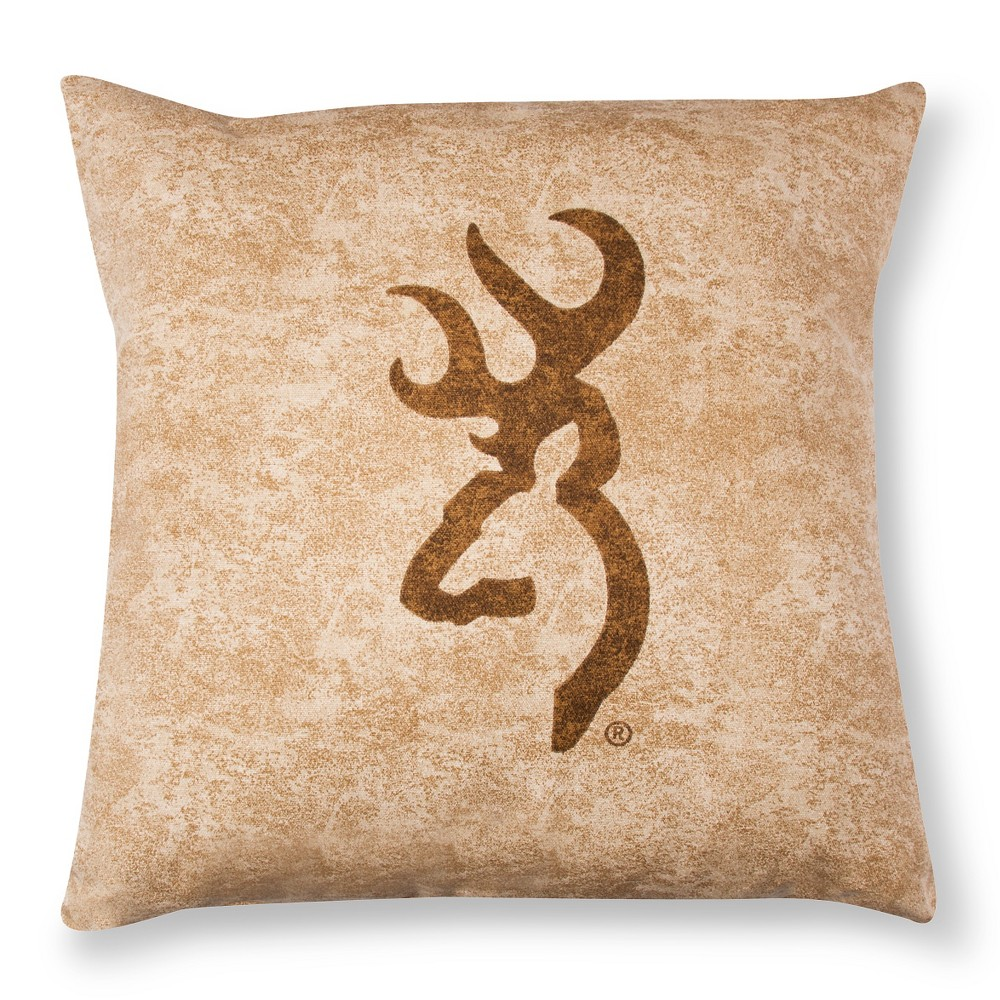 "Image of ""Tan Buckmark Logo Square Throw Pillow (18""""x18"""") - Browning, Beige"""