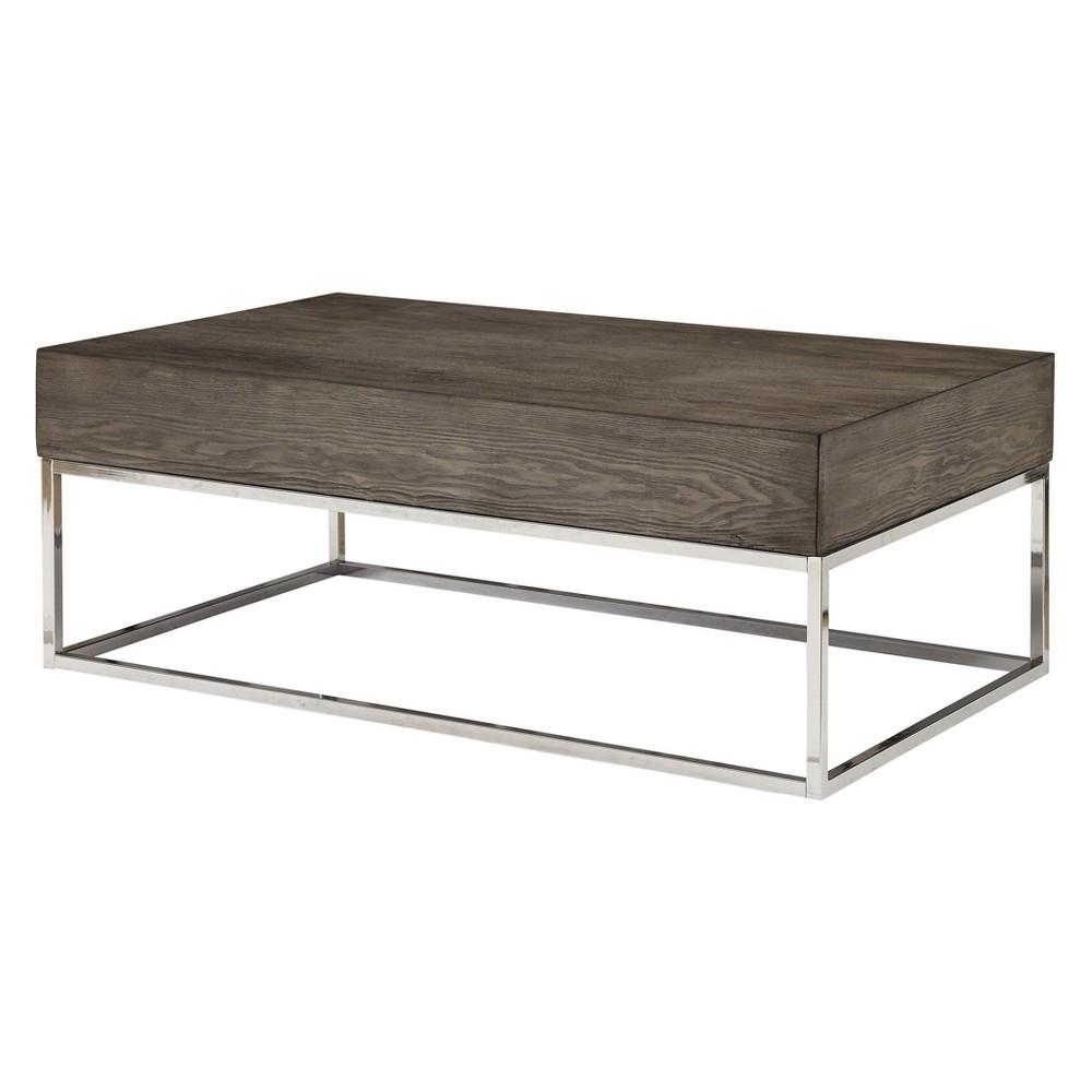 Acme Furniture Cecil II Coffee Table Gray Oak/Chrome, Brown