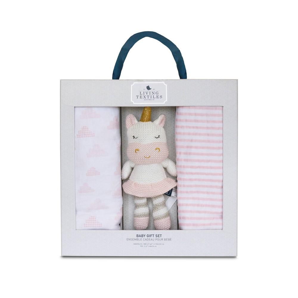 Image of Living Textiles Bento Gift Set Pink Swaddle + Kenzie - 2pk