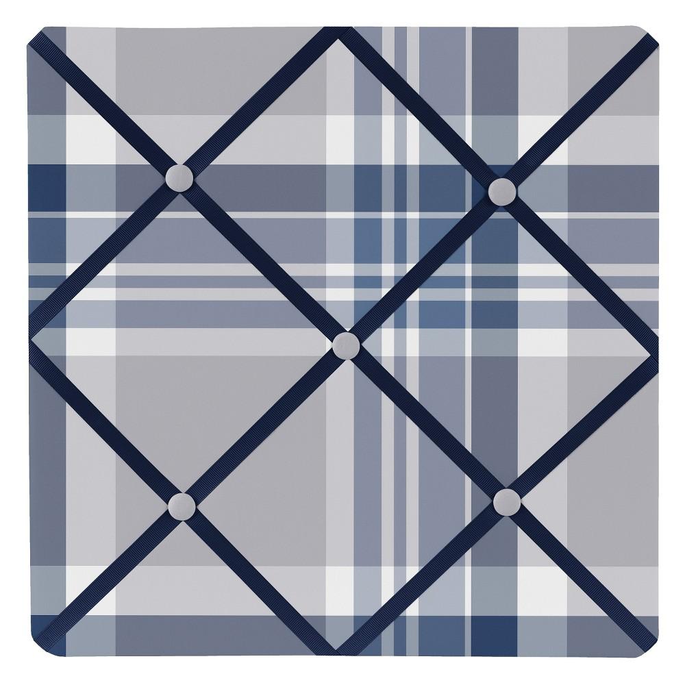 Navy, Grey Plaid Photo Memo Board (13x13) - Sweet Jojo Designs