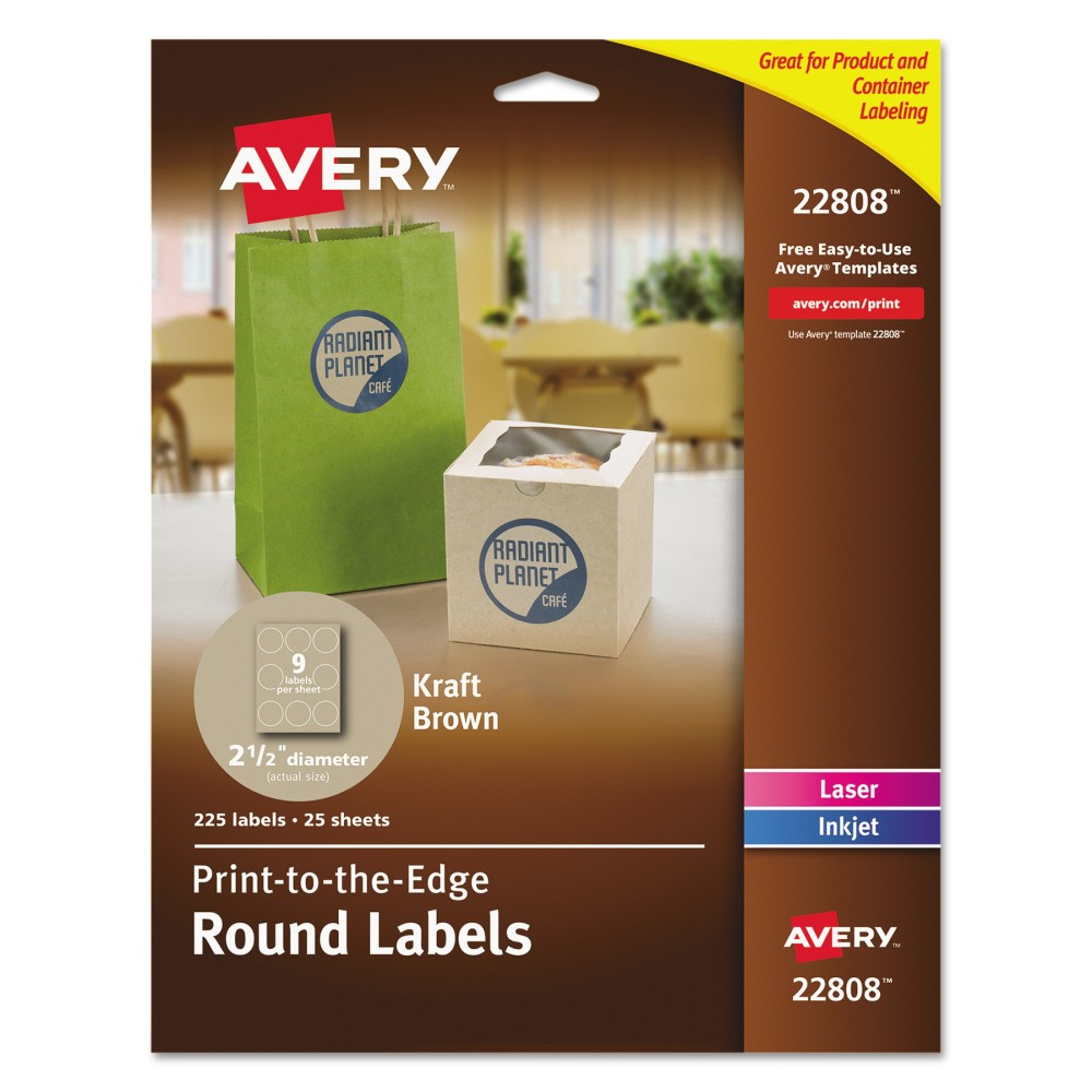 "Image of ""Avery Round Print-to-the-Edge Labels, 2 1/2"""" Dia., Brown Kraft, 225/Pk"""