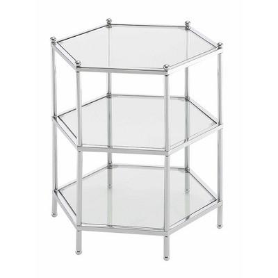 Royal Crest Hexagonal 3 Tier Chrome End Table Chrome - Breighton Home