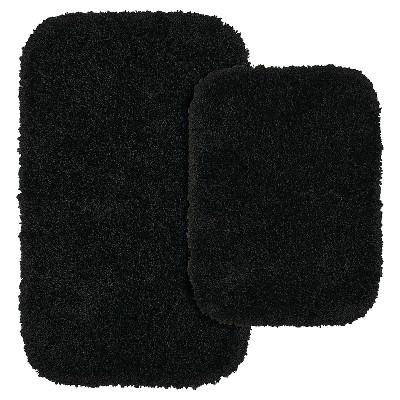 Garland 2 Piece Serendipity Shaggy Washable Nylon Bath Rug Set - Black