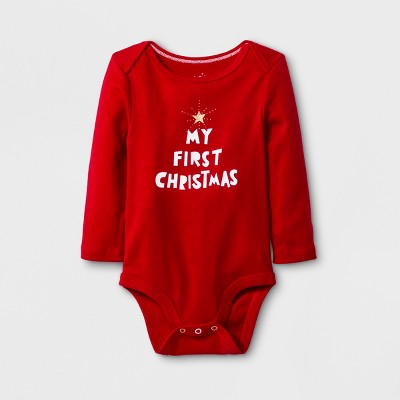 Baby Girls' Long Sleeve My First Christmas Bodysuit - Cloud Island™ Red 0-3M