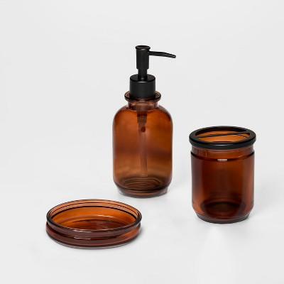 Solid Amber Apothecary Glass Bath Collection - Threshold™