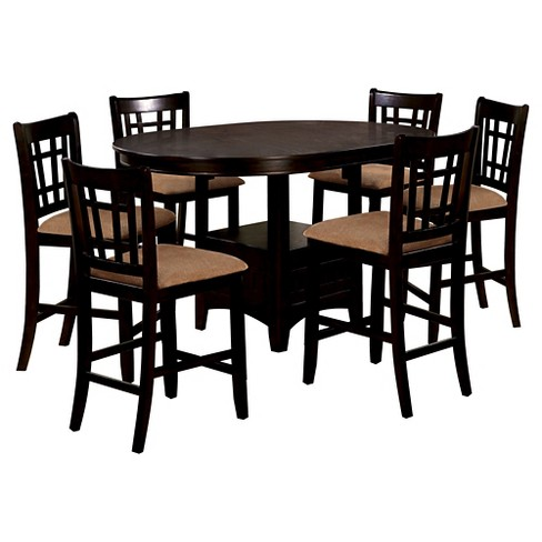 ad4c40ed20fbed ... Dining Table Set Wood Espresso. Mibasics 7pc Open Bottom Square Shelf  Round Counter Target