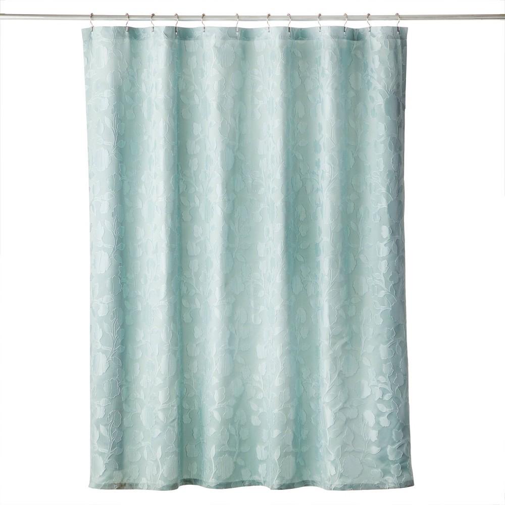 Vern Yip Leaf Silhouette Shower Curtain Aqua Skl Home