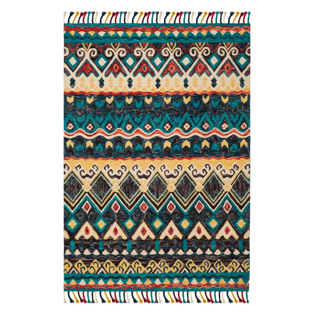 4'X6' Tribal Design Tufted Area Rug Blue/Red - Safavieh, Red Blue
