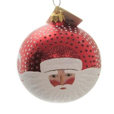 "Christina's World 3.5"" Windswept Santa Ornament Hand Painted Ball Poland  -  Tree Ornaments"