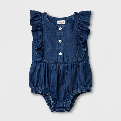 Baby Girls' Romper - Cat & Jack™ Medium Denim Wash 0-3M