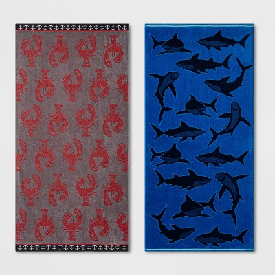 2pk XL Shark and Lobster Beach Towel Set Red/Blue - Sun Squad™