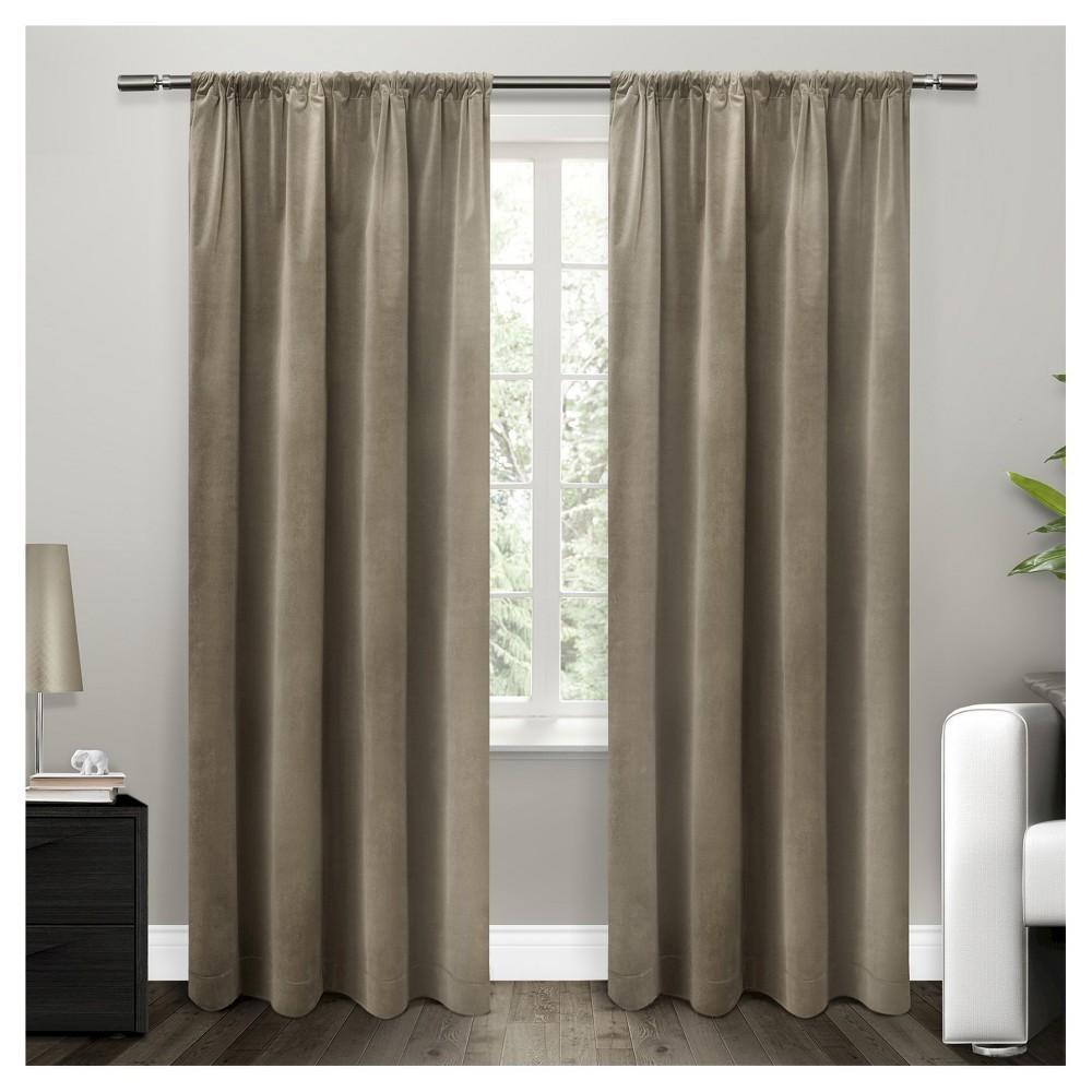 Cotton Velvet Blackout Curtain Panel Taupe (Brown) 54