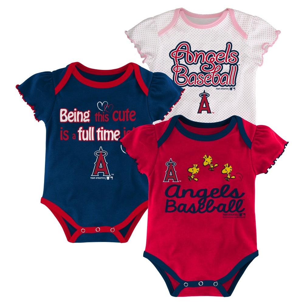 Los Angeles Angels Baby Girls' Bodysuit Crawlers 3pk - 3-6 M, Size: 3-6M, Blue