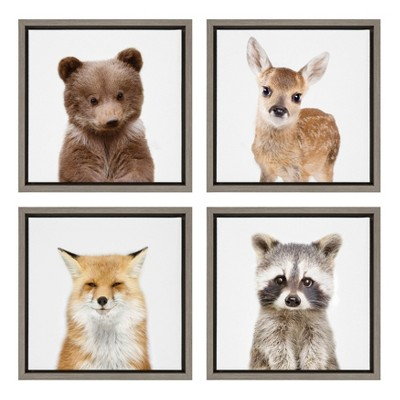 """4pc 13"""" x 13"""" Sylvie Woodland Animal Framed Canvas Art Set by Amy Peterson Gray - Kate and Laurel"""