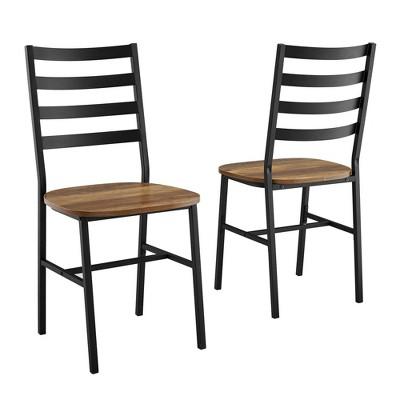 Set of 2 Slat Back Metal and Wood Dining Chair Reclaimed Barnwood - Saracina Home