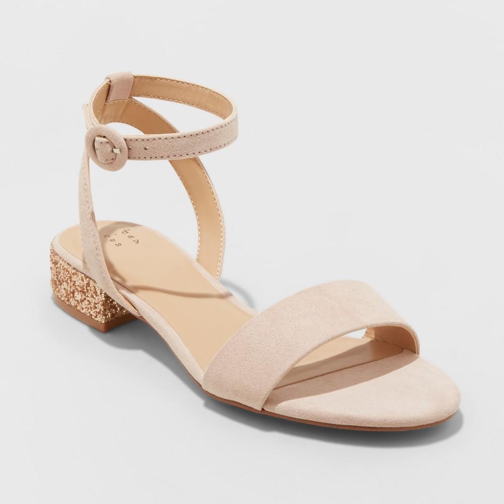 Women's Winona Glitter Ankle Strap Sandals - A New Day Blush 5