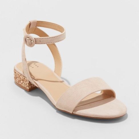 c7d698ce4d1 Women s Winona Glitter Ankle Strap Sandals - A New Day™ Blush 7.5   Target