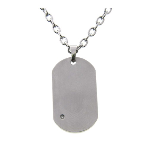 "Men's Cubic Zirconia Dog Tag Necklace in Stainless Steel - Silver (20"") - image 1 of 1"