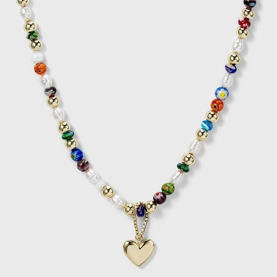 SUGARFIX by BaubleBar Bold Beaded Heart Pendant Necklace
