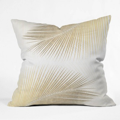 Gale Switzer Palm Leaf Synchronicity Square Throw Pillow Merona Gold - Deny Designs