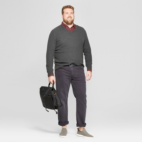 be894ef88b Men s Big   Tall Long Sleeve V-Neck Sweater - Goodfellow   Co™ Medium  Heather Gray   Target