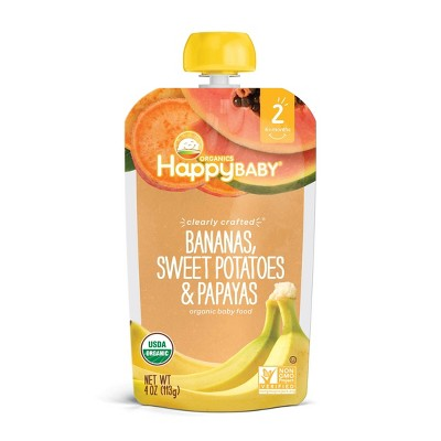 HappyBaby Clearly Crafted Bananas Sweet Potatoes & Papayas Baby Meals - 4oz