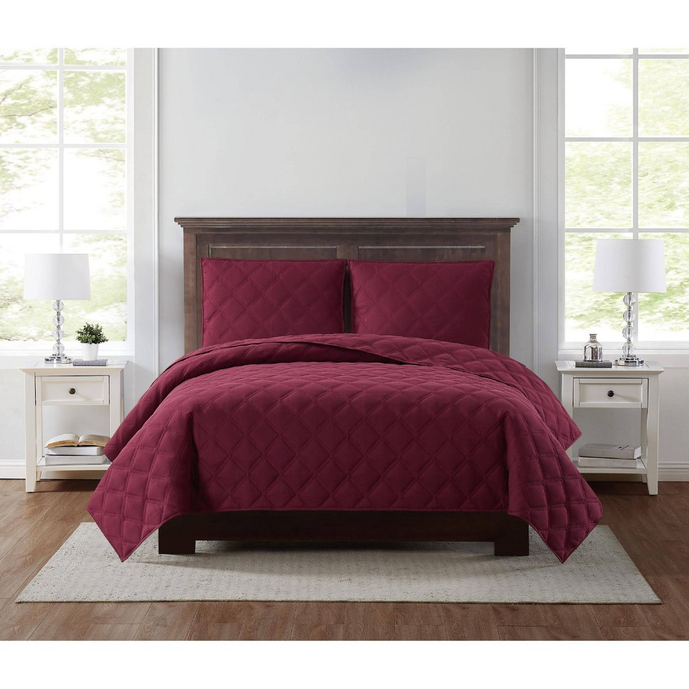 King 3pc Everyday 3d Puff Quilt Set Burgundy Truly Soft