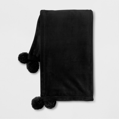 Black Pom Plush Throw - Room Essentials™