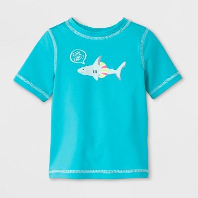 Baby Boys' Shark Short Sleeve Rash Guard - Cat & Jack™ Aqua 12M