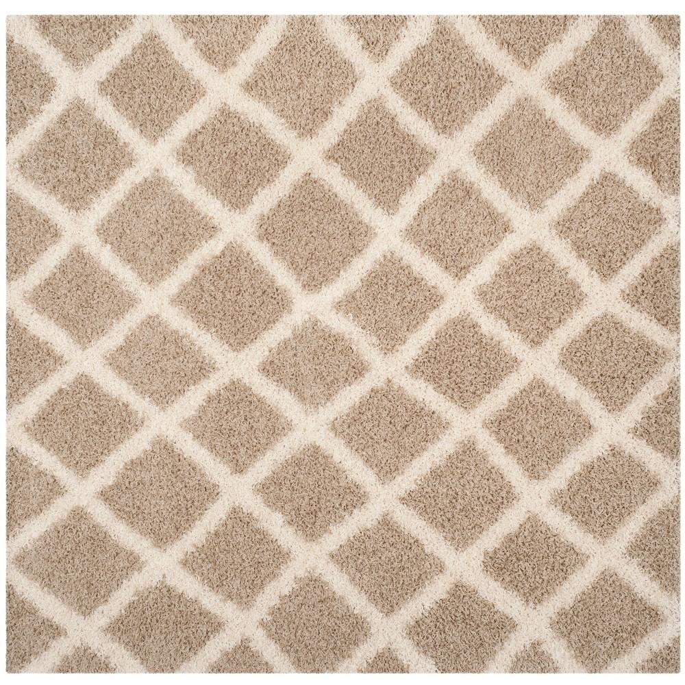6'X6' Geometric Loomed Square Area Rug Beige/Ivory - Safavieh
