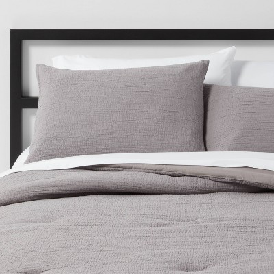 Full/Queen Micro Texture Comforter & Sham Set Stone Gray - Project 62™ + Nate Berkus™