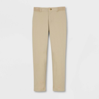 French Toast Boys' Uniform Elastic Waistband Slim Pants - Khaki