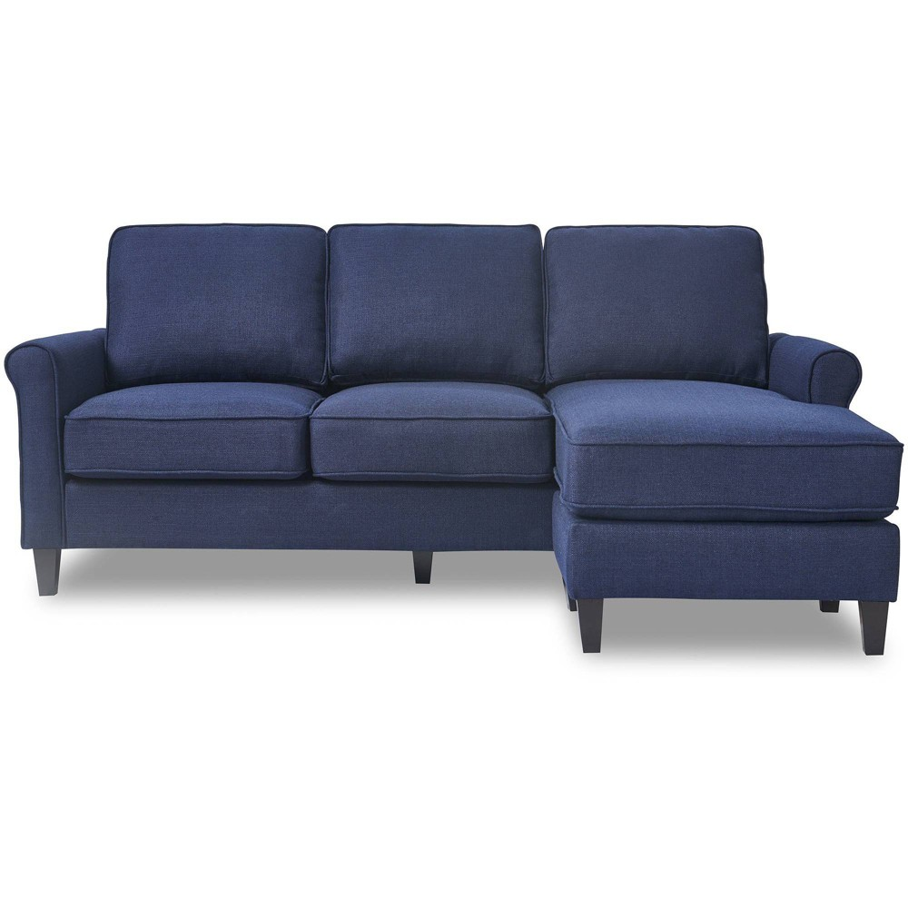 The Serta Harmon Sectional is perfect for adding big comfort to small spaces. If you love the look and versatility of a sectional but have a smaller living room, den, or basement, the Harmon is your happy solution. This cozy sectional comes in a variety of neutral colors to work with your existing decor, and the fabric upholstery is soft and inviting. So snuggle in for family movie night with the Serta Harmon Sectional! Color: Navy. Pattern: Solid.