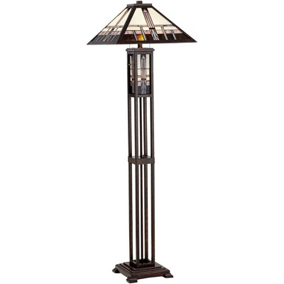 Robert Louis Tiffany Mission Floor Lamp Art Deco with Nightlight Oiled Bronze Stained Glass Shade for Living Room Reading Bedroom