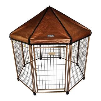 Advantek 23220E Pet Gazebo Portable Easy Setup Outdoor 4 Foot Wide Metal Dog Kennel Playpen Enclosure And Protective Weatherproof Umbrella Roof Awning : Target