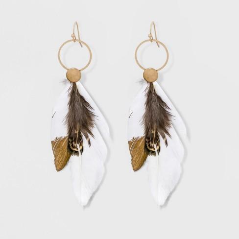 Feather Drop Earrings Universal Thread Light Gold