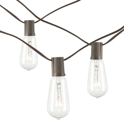 10ct Patio String Lights - Brown Wire
