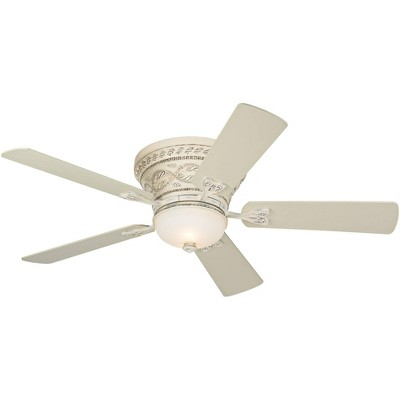 """52"""" Casa Vieja French Hugger Ceiling Fan with Light LED Dimmable Remote Rubbed White Frosted Glass for Living Room Kitchen Bedroom"""