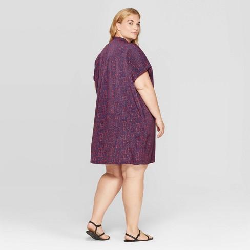 Women\'s Plus Size Banded Collar Short Sleeve Tunic Dress - Prologue™ Night  Blue