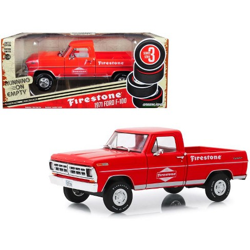 "1971 Ford F-100 Pickup Truck Red ""Firestone Tire Service"" ""Running on Empty"" Series 3 1/24 Diecast Car by Greenlight - image 1 of 2"