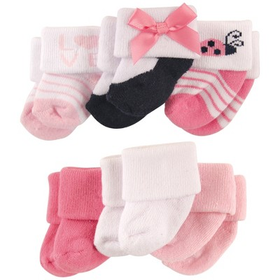 Luvable Friends Baby Girl Newborn and Baby Socks Set, Ladybug, 0-3 Months