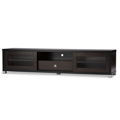 "Beasley 70"" TV Cabinet with 2 Sliding Doors and Drawer - Dark Brown - Baxton Studio"