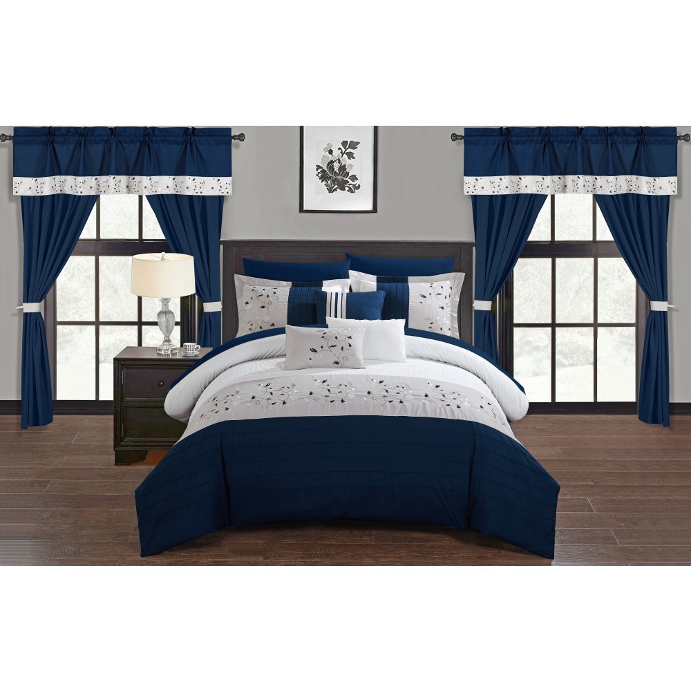 Queen 20pc Sonjae Bed In A Bag Comforter Set Navy (Blue) - Chic Home