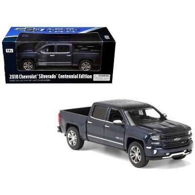 "2018 Chevrolet Silverado LTZ Pickup Truck Centennial Edition Blue Metallic ""100 Years Anniversary"" 1/27 Diecast Model Car by Motormax"