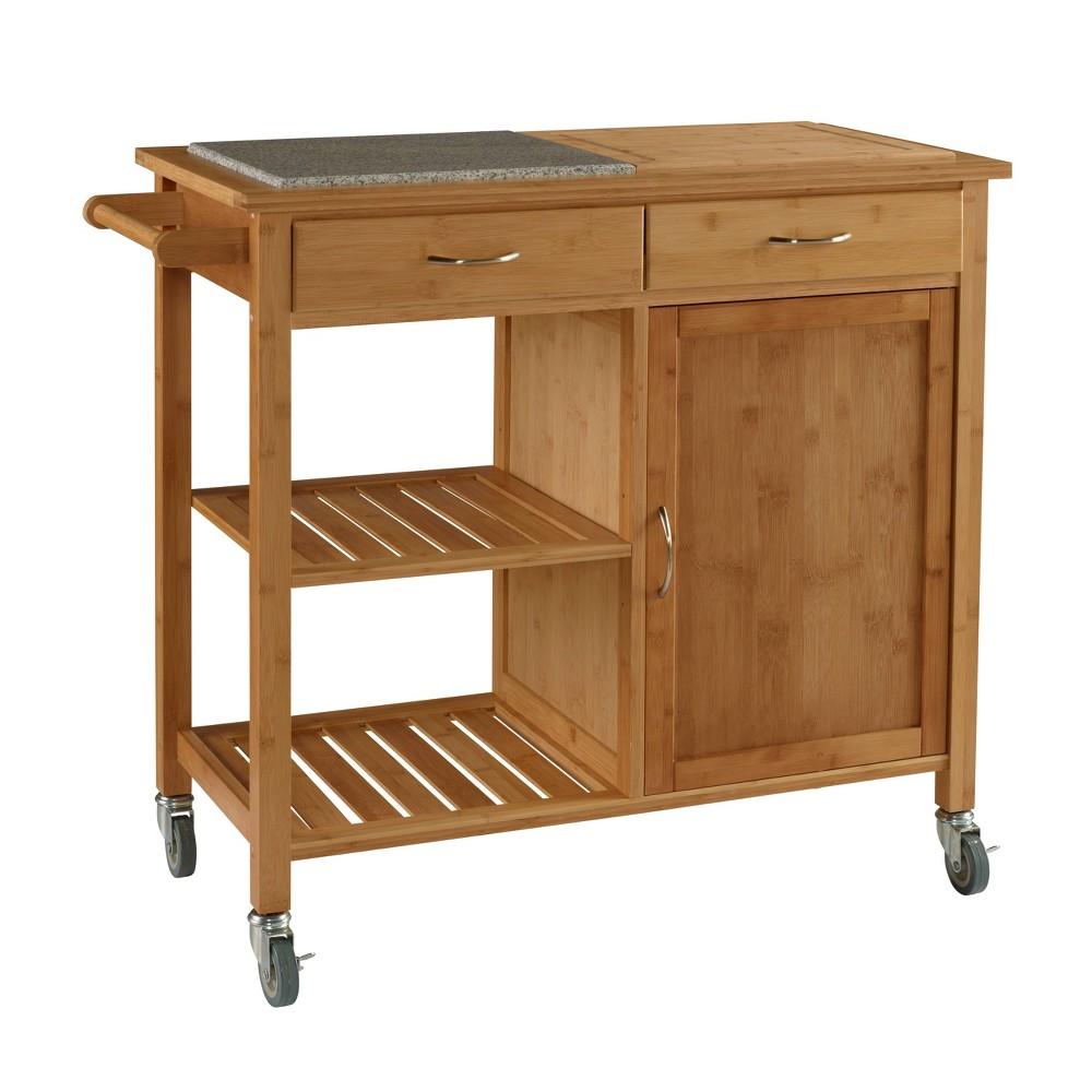 Roberts Bamboo Kitchen Cart Brown - Linon